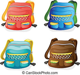 school bags - illustration of school bags on a white...