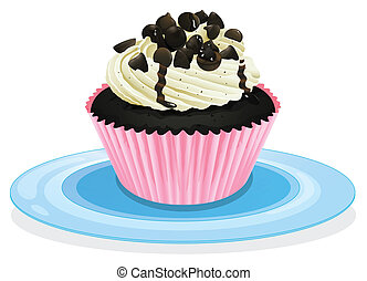 cake in a dish - Illustration of an isolated cupcake on a...