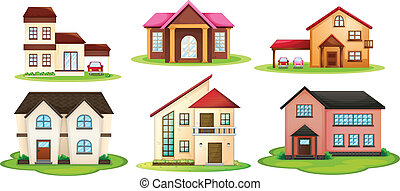 various houses - illustration of various houses on a white...