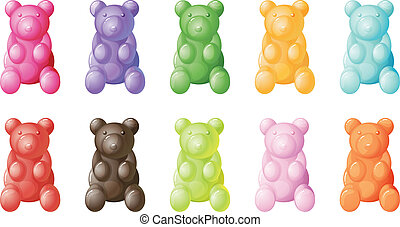 gummy bears - illustration of gummy bears on a white...