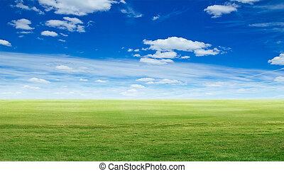 全景, 綠色, 風景