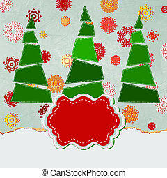 Vintage Christmas card with tree. EPS 8