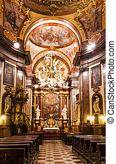 Baroque interior of Church of Saint Francis, Prague - Church...