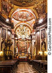 Baroque interior of Church of Saint Francis, Prague - Church...