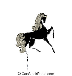 Stylized black beautiful horse