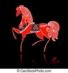 Decorative beautiful horse Khokhloma