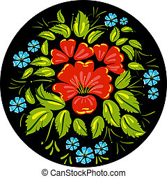 Flower ornamet style Khokhloma