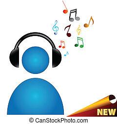Music symbol - Man symbol in earphones with music in unique...