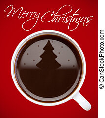 Christmas coffee - Coffee with christmas tree reflection on...