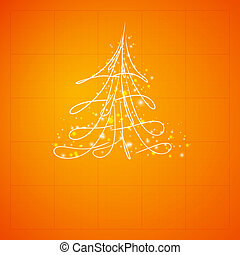Fur-tree, vector. - Simple sketch and glossy Christmas tree...