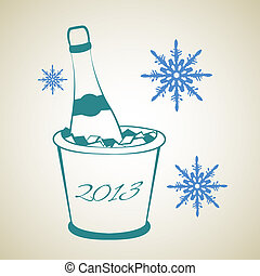 Bottle of wine in ice bucket. Vector illustration.