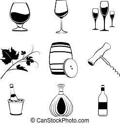 Set of wine items icons. Vector illustration.