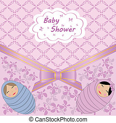 baby shower for two babies - vector card celebration with...