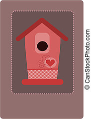 Pink empty bird feeder. - Pink empty bird