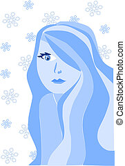 Beauty young winter women - vector illustration.