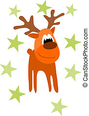 Funny rein deer - illustration for christmas time.