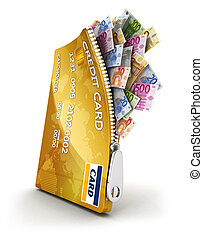 3d open credit card with a lot of euro bills, isolated white...
