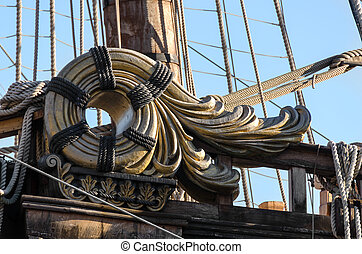pirate ship - decorative detail of pirate ship in Genoa,...