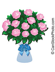 Pink roses with bow