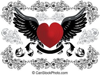 Heart with wings and background - Illustration of heart with...