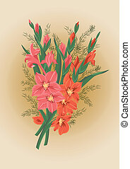 Bouquet of pink and red gladioluses - Illustration of pink...