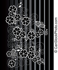 Abstract white and black flowers