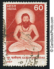 Guru Ghasidas - INDIA - CIRCA 1987: stamp printed by India,...