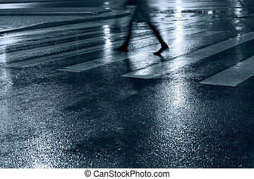 People walking at night - People crossing the road at night