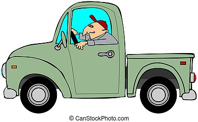 Man driving an old green truck - This illustration depicts a...