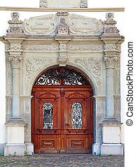 Doorway of the old house in the german part of Switzerland