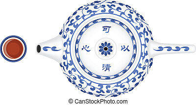 Teapot and Teacup - Layered vector illustration of Chinese...