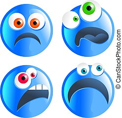 blue smilies - set of blue cartoon funny faced unhappy...