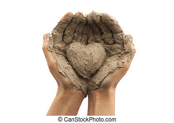 Giving - Female hands on a white background holding a heart...