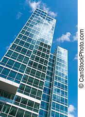 skyscraper - facade of a modern skyscraper in Almere,...