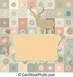 Christmas deer card. EPS 8