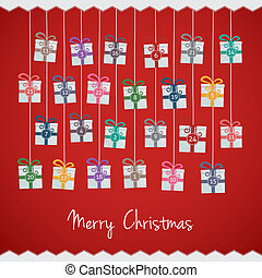 gift advent calendar - gift boxes hang on twine advent...