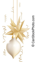 Beautiful gold and white Christmas - Illustration of two...