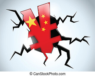 Yuan Yen Money Crisis China Flag Crack on the Floor - Vector...