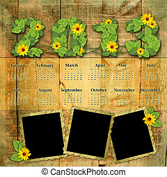 Vintage calendar 2013 with a template for photo edges