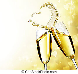 Two Champagne Glasses With Abstract Heart Splash