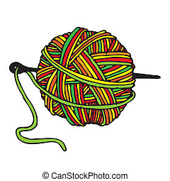 boll of wool in colors