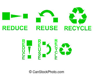 Reduce Reuse Recycle - Reduce, reuse and recycle symbols...