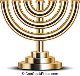 gold menorah - Vector illustration of gold menorah emblem of...