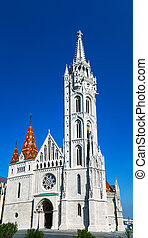 Matthias Church in Budapest, Hungary on a sunny day