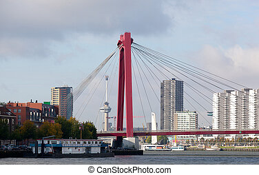 View of Willemsbrug Bridge in Rotterdam on the Maas River,...