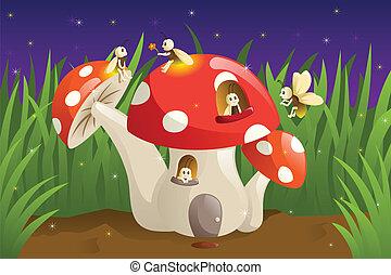 champignon, maison, fireflies