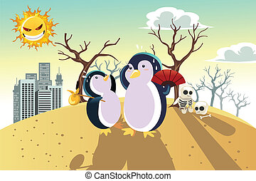 Global warming concept - A vector illustration of a global...