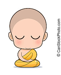 Buddhist Monk cartoon - Golden Buddha with Isolated Buddha