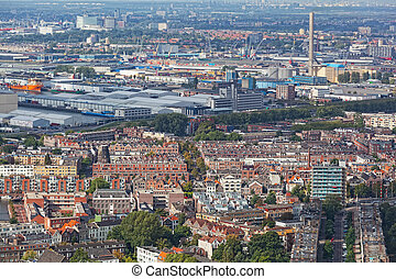 View of Rotterdam from height of bird's flight, Holland