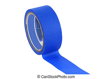 Isolated roll of blue painters tape